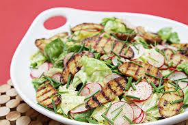 Boston Lettuce And Radish Salad With Grilled Fingerling Potatoes Lemon Garlic Vinaigrette