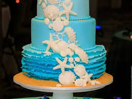 Ombre Beach Themed Wedding Cake