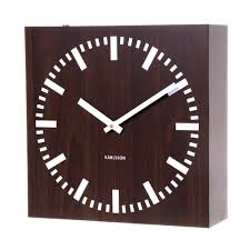 Contemporary Square Wooden Wall Clock With White Needle Design
