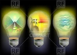 solar wind and wave energy concept with light bulb royalty free