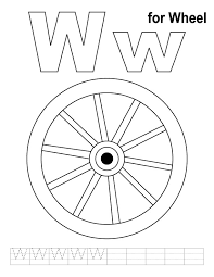 W For Wheel Coloring Page With Handwriting Practice