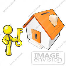 37795 Clip Art Graphic Of A Yellow Guy Character Holding The Key To House