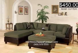 Modern Sage Green Fabric Sectional Sofa FREE Ottoman Living Room Furniture Set
