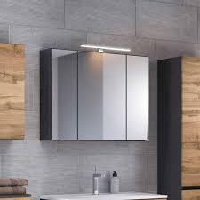 grauer bad hängeschrank mit 3 spiegeltüren endely