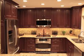 Kitchen Backsplash Ideas Dark Cherry Cabinets by Shaker Door Style Custom Cherry Kitchen Cabinets With A Travertine