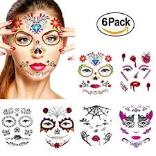 Halloween Temporary Face TattoosWenMei Skull Scar Spider Blood Bat Rose Floral Fake Tattoos Sticker