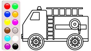 Car And Truck Coloring Pages, Learn Colors With Fire Truck Coloring ...