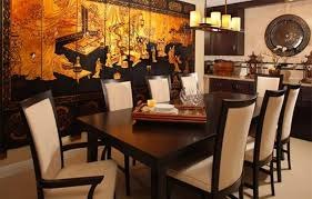 Asian Dining Room Ideas With Tapestry And Parsons Chairs Wooden Table Metal Art