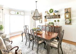 Farmhouse Dining Room Table Bright And Colorful Yellow Modern Makeover With Rug Chairs