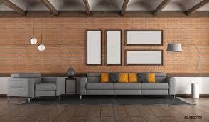 foto auf lager wohnzimmer mit ziegelmauer und modernen möbeln
