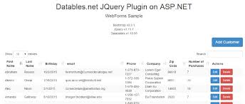 ASP NET JQuery Datatables documentation