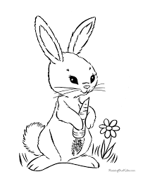 Bunny Holding A Carrot Coloring For Kids