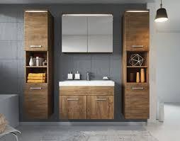 badezimmer badmöbel set paso xl led 80cm lefkas braun unterschrank 2x hochschrank
