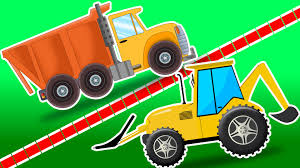 Dump Truck Vs Backhoe Loader | Cars Race Videos - YouTube