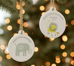 Baby s First Christmas Lion & Elephant Personalized Ornaments