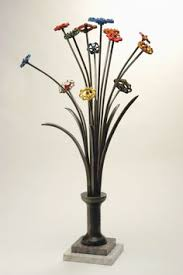 Sculpture Metal Patrick Plourde Spigot Flowers
