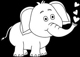 Black and White Elephant Blowing Hearts Clip Art Black and White