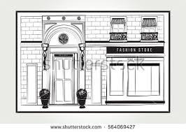 Vector Shopfront Detailed Graphic Illustration Design Vintage Boutique Facade Modern Fashion Shop Exterior With