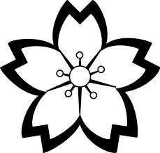 Ume Blossom clipart black and white 8