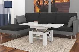 design couchtisch tisch cleo weiß hochglanz höhenverstellbar 57 69cm aufklappbar 75 150cm esstisch