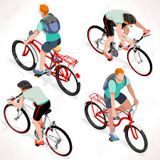 Teen Cyclist Riding Bicycle Isometric Cyclists Cycling Sport Flat 3D People Collection