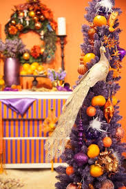 Orange And Purple Colors For Christmas Decorating Asymmetrical Tree Decoration