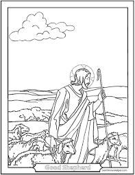 Jesus Good Shepherd Coloring Page Guarding His Flock