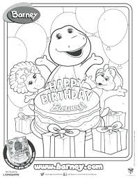 Happy Birthday Barney Printable Coloring Page Hello Kitty Party Pages