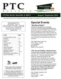 Patty Turner Center Bulletin August And September 2016 By Deerfield Park District