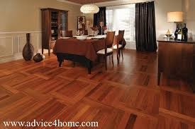Dark Red Hard Wood Flooring In Dining Room