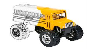 SCHOOL BUS MONSTER TRUCK - Drawing & Coloring VEHICLES - YouTube
