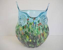 Owl Glass Art Kitchen Decor Utensil Holder