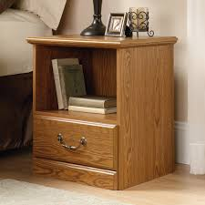Sauder Shoal Creek Executive Desk Jamocha Wood by Furniture Charming Wooden Nightstand With Single Drawers By