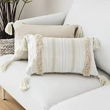 lomohoo boho throw kissenbezug kissen tufted tassel woven decorative kissenbezug für sofa schlafzimmer wohnzimmer hellgelb beige 12x20 zoll