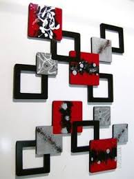 2pc Red Black Gray Geometric Squares Wall Sculpture Hanging Over 4ft Room DecorRed