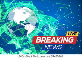 Breaking News Live With World Map On Blue Glowing Plexus Structure Background Business Technology Earth Planet Abstract Geometric
