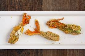 Fried Pumpkin Blossoms by Goat Cheese Stuffed Squash Blossoms