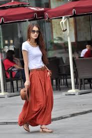 maxi skirt lagenlook bud long skirt in dark orange nc023