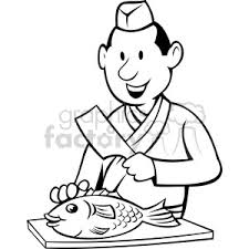 Royalty Free chef preparing fish black white image vector clip art image EPS SVG AI PDF illustration