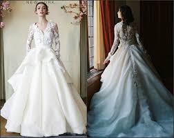 Discount 2016 Long Sleeve Illusion Neckline 3 D Florals Wedding