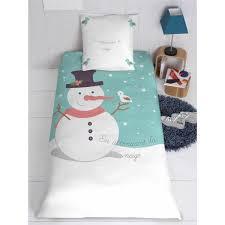 parure de lit housse oreiller personnalisé bonhomme de neige et