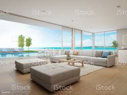 im freien essen und meer anzeigen wohnzimmer des luxusstrandhaus mit terrasse in der nähe schwimmbad in modernem design hause oder im urlaub