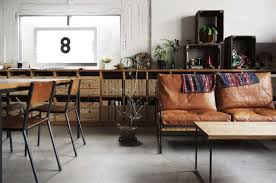 Rustic Living And Dining Room Design With Old Vintage Furniture Plus Brown Leather 2 Seats Sofa Black Metal Frame Wall Built In File Storage