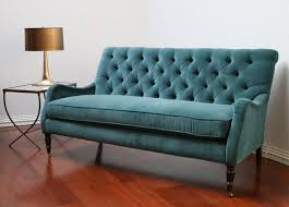 great blue tufted sofa with peacock blue velvet tufted sofa