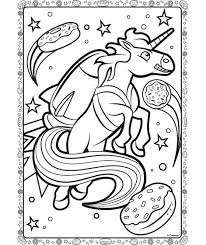 Unicorn Coloring Page Uni Creatures In Space Realistic Flying Pages