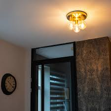 qazqa design deco deckenleuchte deckenle le leuchte gold messing facil 3 flammig wohnzimmer schlafzimmer küche stahl