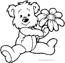 Free Printable Bear With A Flower Color Bears Animal Coloring Pages Plate