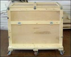 Custom Large Wood Shipping Crate With Casters And Latching Lid