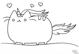 Kawaii Cat Unicorn Coloring Page Free Printable Pages And Pusheen Inside