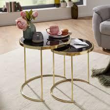 finebuy satztisch fb49696 design satztisch caro schwarz gold beistelltisch metall glas couchtisch set aus 2 tischen kleiner wohnzimmertisch